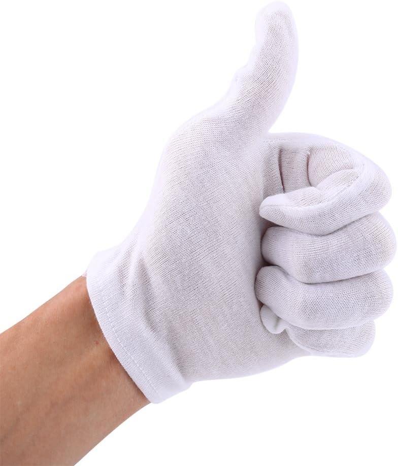 Akozon 12 Pares Guantes Algodon Blanco De Trabajo Blanco para Joyería de Monedas Protección de Inspección de Plata O Foto: Amazon.es: Bricolaje y herramientas