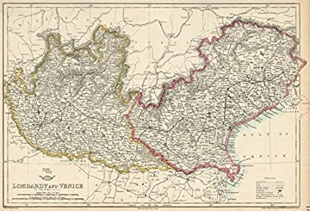 Cartina Lombardia Veneto.Antiqua Print Gallery Venezia Lombardia Austriaca Regno Di