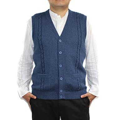 CELITAS DESIGN Alpaca Vest Sweater Jersey with BRIAD V Neck Buttons and  Pockets Made in Peru c75ec3b04