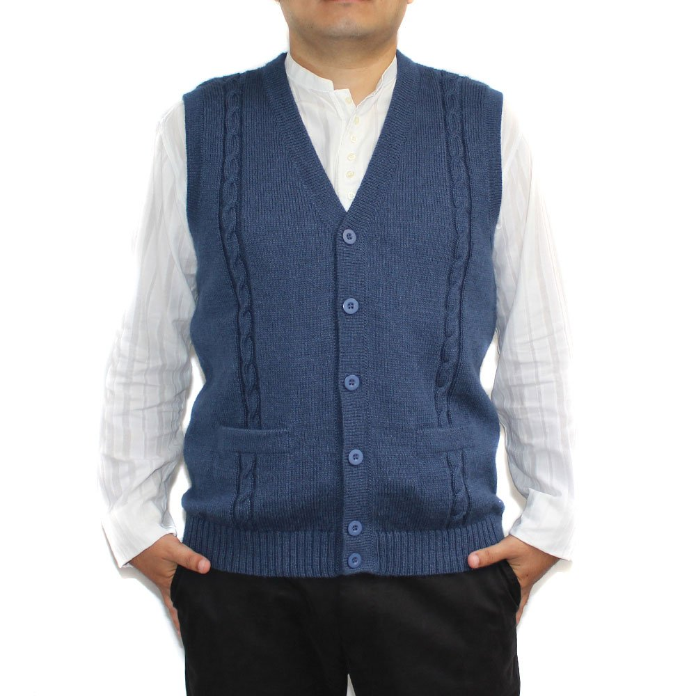 CELITAS DESIGN Alpaca Vest Sweater Jersey with BRIAD V Neck Buttons and Pockets Made in Peru Steel L
