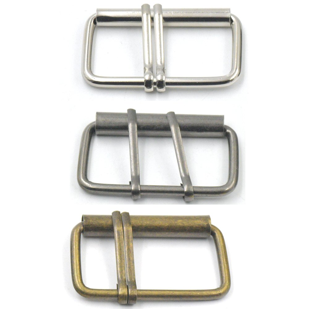 Bluemoona 6Pcs 50mm 2 Double Prong Roller Buckles Belt Strap Bag Clasp Strap Fabric Craft Nickel