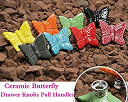 Sytian® Multicolor Baby Kid\'s Furniture Drawer Handles Ceramic Door Cabinet Cupboard Drawer Knobs Pull Handles with Screw (Butterfly,8pcs)