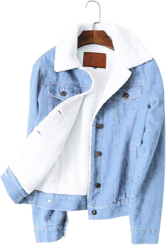Women Lambswool Jean Coat 4 Pockets Long Sleeves Warm Outwear Wide Denim Jacket