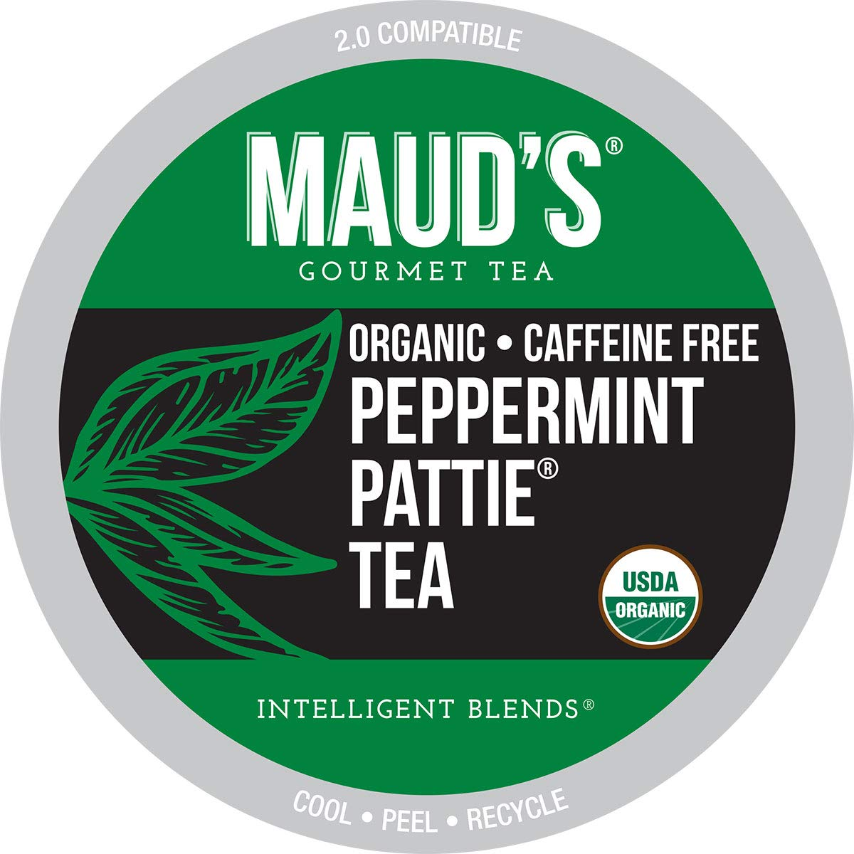 Maud's Organic Peppermint Tea (Peppermint Pattie Tea), 24ct. Recyclable Single Serve Organic Decaf Tea Pods – 100% Organic Caffeine Free Herbal Tea California Blended, Keurig Mint Tea K Cup Compatible
