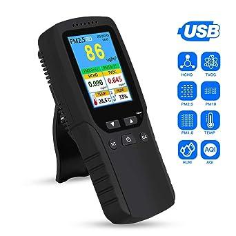 8In1 Air Quality Monitor Detector PM10 PM2.5 HCHO TVOC TEMP Humidity Alarm Clock