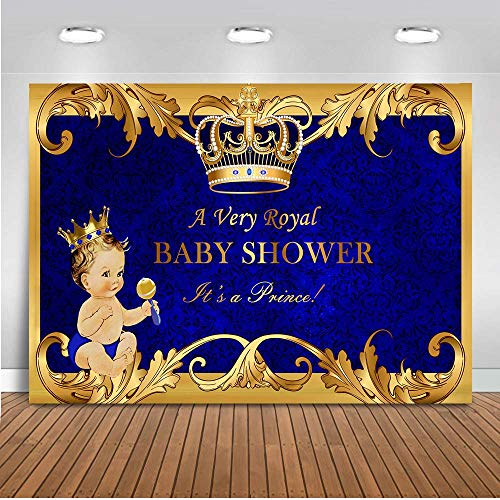 Mehofoto Baby Shower Backdrop Royal Prince Gold Crown Royal Blue Photography Background 7x5ft Vinyl Welcome Little Boy Baby Shower Banner Backdrops (Blue And Brown Baby Shower Invitations)