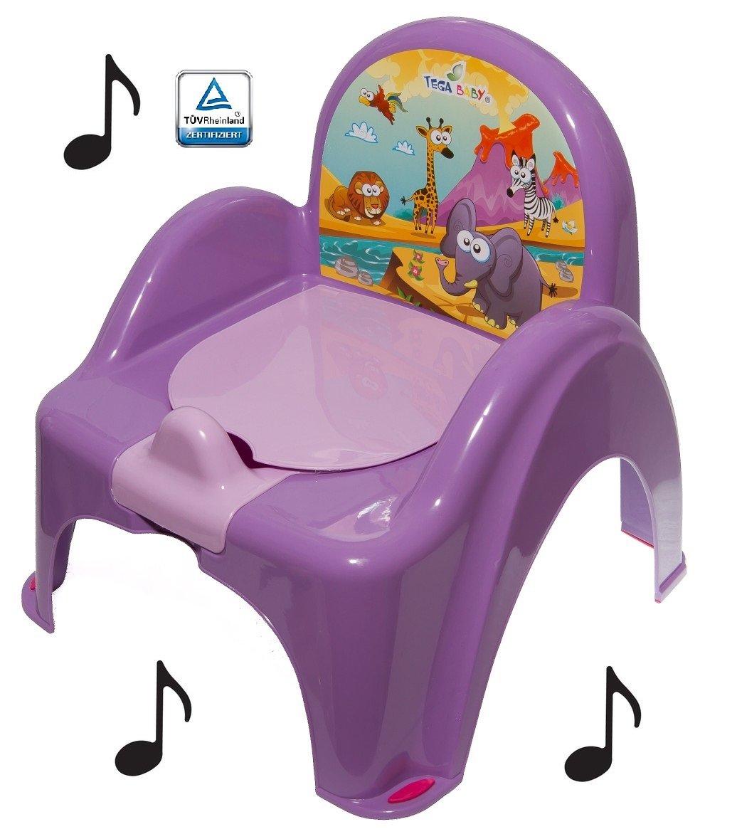 Pot de toilette musical pour bébé enfant fauteuil chaise thème animaux Safari couleur Violet Tega