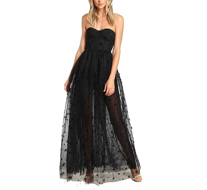 private-space-Aurelie Black Sexy Bustier Party Dress 2018 Star Flock Cute Women Mesh Overlay Maxi Summer Dress