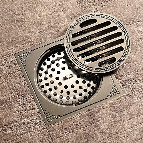 Pure Cupper Antique Floor Drain Tile Insert Square Shower Floor Drain 4-Inch Insect Proof, Anti-Backwater And Deodorant Floor Drain Anti-Clogging by YJZ (Image #5)