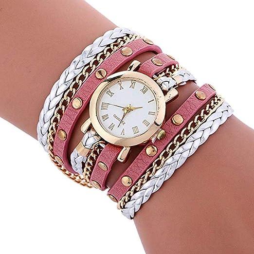Relojes de Pulsera para Mujer Liquidación Relojes de señora Relojes  Femeninos de Cuero en Oferta Relojes (Rosa)  Amazon.es  Relojes 8f5c9b9cdb87