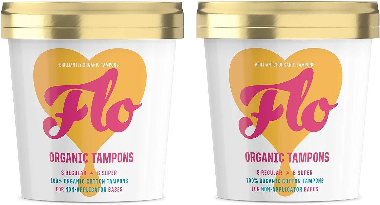 Flo Organic Non Applicator Tampons Regular /& Super Combo Pack 2 Pack 2 x 16 Tampons