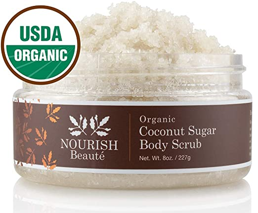 Nourish Beaute Organic Sugar Body Scrub That Exfoliates, Hydrates and Moisturizes Skin While Improving Skin Tone and Texture, 8 oz Coconut best body scrub