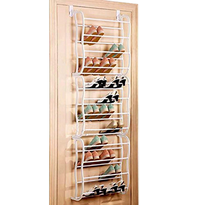 Buyi-World Scaffale Scarpiera da Porta in Metallo Organizzatore Appeso per Scarpe Salvaspazio a 12 Ripiani 60 × 20 × 180 Porta 36 Paia di Scarpe (Bianco)