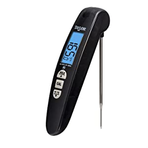 Taylor Precision Products Digital Turbo Read Thermocouple Thermometer with Folding Probe, Black