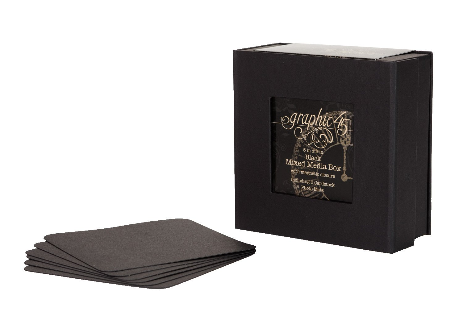 Graphic 45 Mixed Media Box, 5 by 5-Inch, Black 4500983