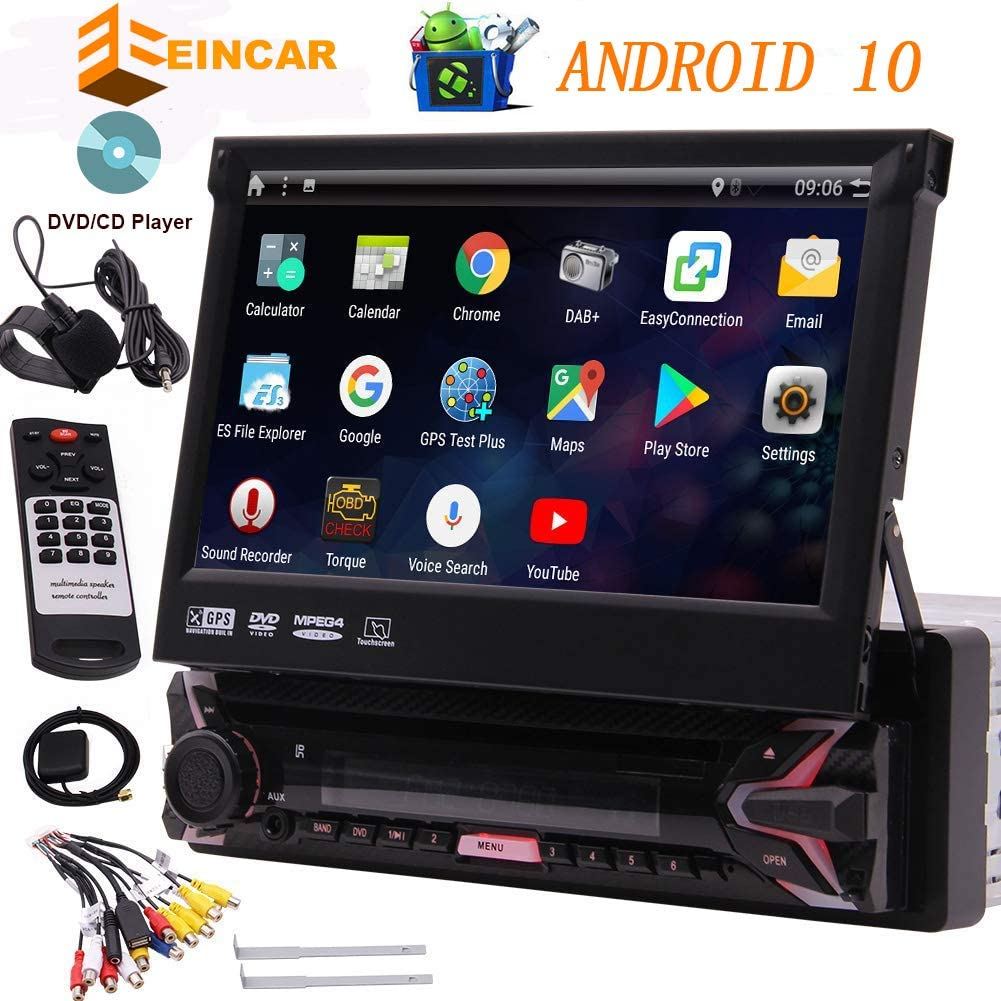 "EINCAR 7"" HD Car DVD Player Android 10 Car Stereo Single Din Car GPS Navigation Auto Radio Receiver 1 Din Android 10.0 Headunit with Detachable Screen RDS WiFi OBD SWC Mirror Bluetooth, External MIC"