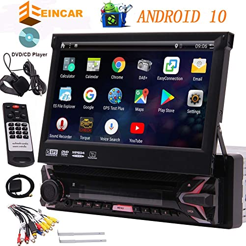 EINCAR 7 HD Car DVD Player Android 10 Car Stereo Single Din Car GPS Navigation Auto Radio Receiver 1 Din Android 10.0 Headunit with Detachable Screen RDS WiFi OBD SWC Mirror Bluetooth, External MIC