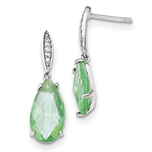 .925 Sterling Silver 28 MM Green Glass and CZ Dangle Post Stud Earrings