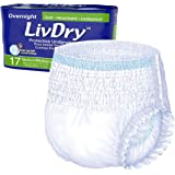 LivDry Adult M Incontinence Underwear, Overnight Comfort Absorbency, Leak Protection, Medium, 17-Pack