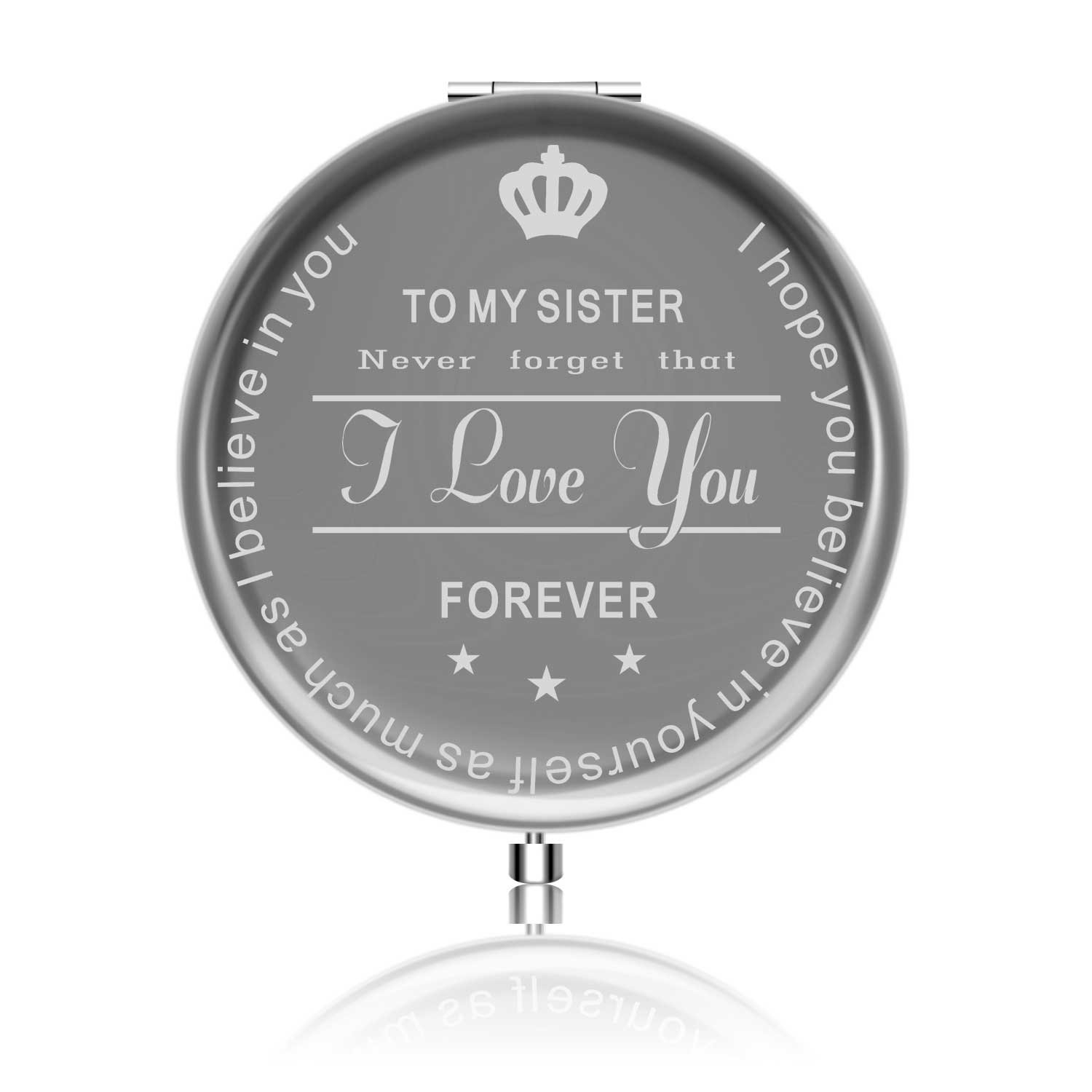 Best Sister Gifts from Sister Ideals Birthday Anniversaries Gift to Sister from Sister Makeup mirror with Gift Box I love you
