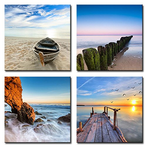 """SZ HD Painting Canvas Print for Home Decoration, Framed, Stretched - 4 Panels Blue Beach and Boat Painting Wall Art - 12""""x12""""x4pcs, High Definition"""