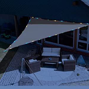 KUD Shade 12'x12'x12' Triangle Sun Shade Sail with Waterproof String Lights Solar Energy Canopy Perfect for Outdoor Garden Patio Permeable Romantic Atmosphere UV Block Fabric Durable(Sand Color)