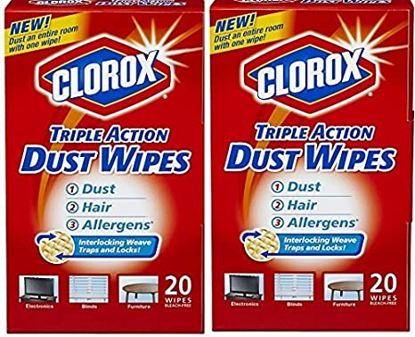 New White FREE SHIPPING 20//Box Clorox Triple Action Dust Wipes 8 1//2 x 7