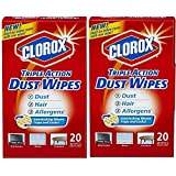(Pack of 2) Clorox Triple Action Dust Wipes, 7 x 8.5 , 20 count each