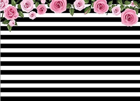 Amazon 7x5ft White And Black Stripe Striped Pink Flower