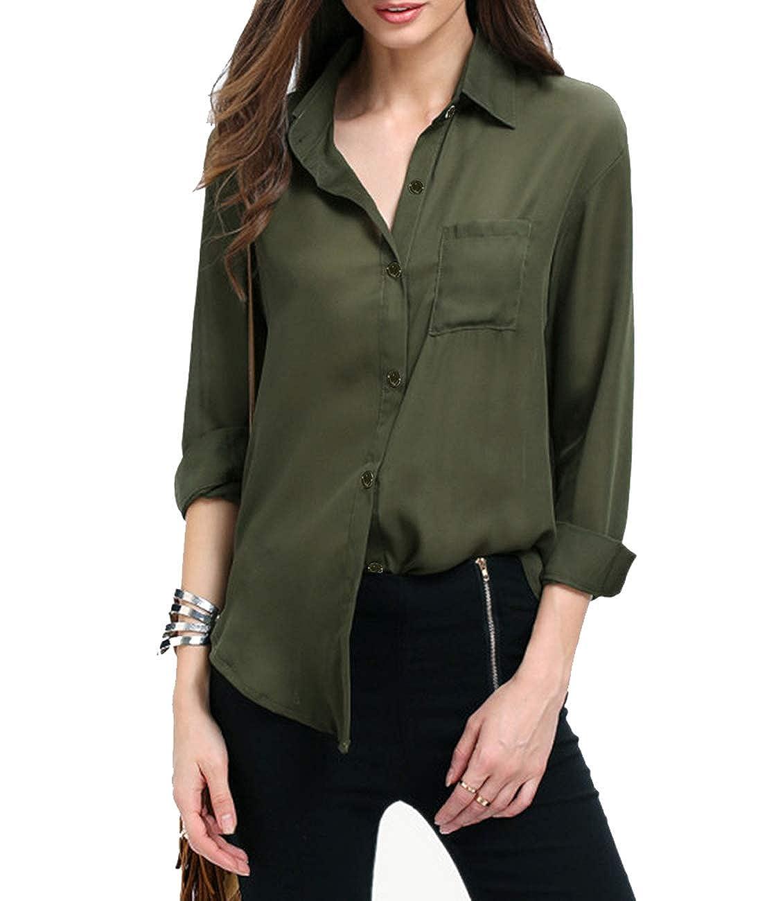 45c6be7ff426f Yidarton Women Long Sleeve Chiffon Shirt Boxy Blouse Button Down Chiffon  Blouse Shirts Tops with Chest Pocket at Amazon Women s Clothing store