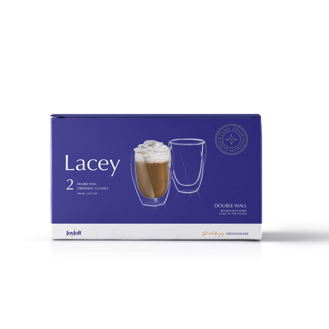 JoyJolt Lacey Double Wall Glasses Set of 2 Thermo Insulated Tumblers 10-Ounces.