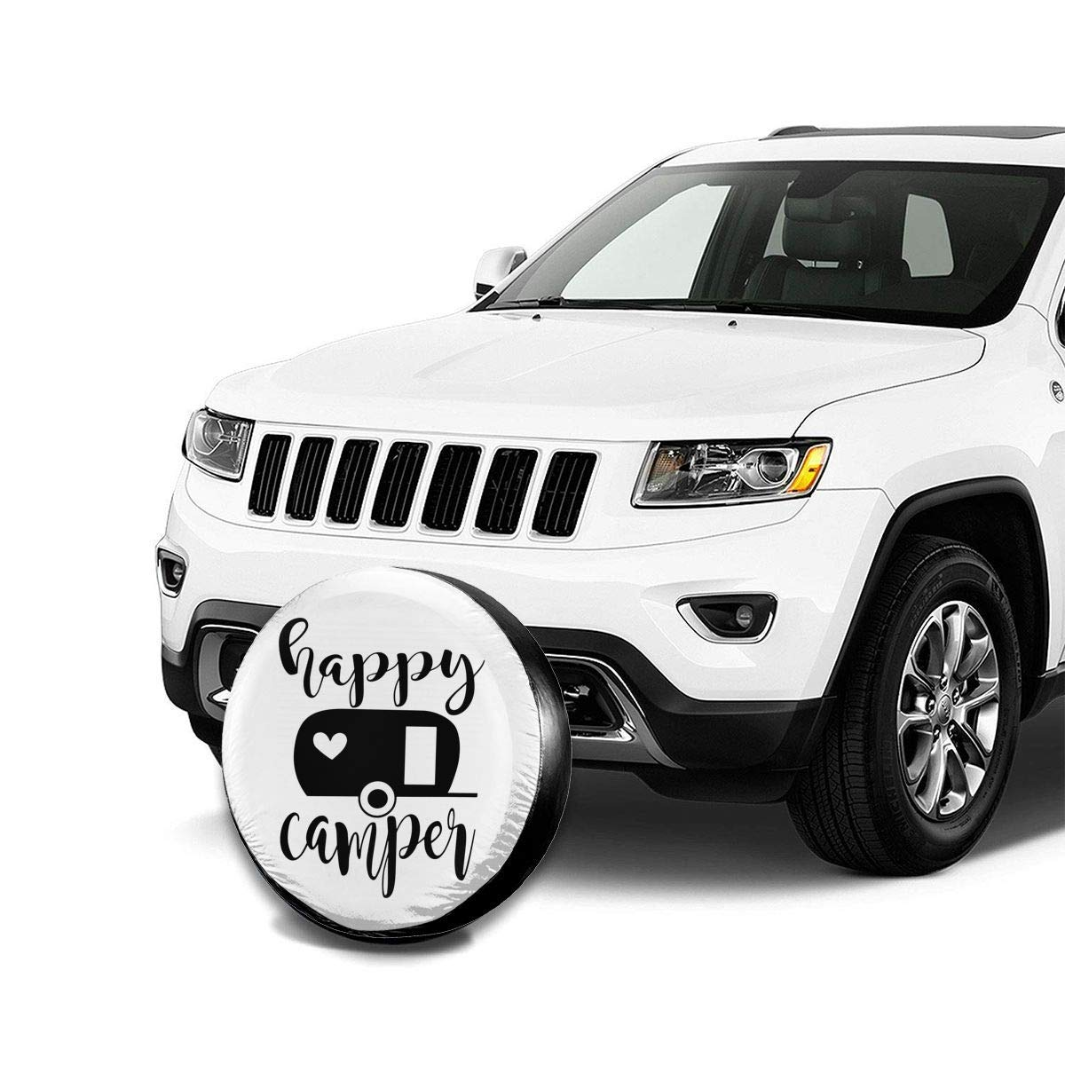 Happy Camper Vector Spare Tire Cover Dust-Proof Waterproof Wheel Covers Sunscreen Corrosion Protection for Trailer RV SUV Truck Camper Travel 14 15 16 17
