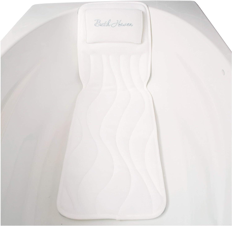 Bath Haven Almohada de baño SPA Amortiguador para la Comodidad de Todo el Cuerpo Deluxe Blanco
