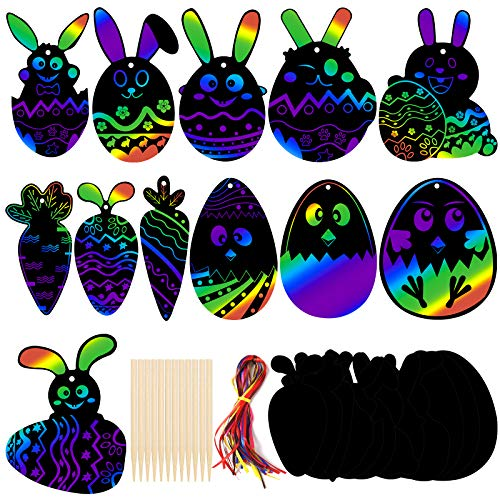 Koogel 36 Pcs Easter Egg Rainbow Scratch Art, Magic Rainbow Paper Easter Rainbow Scratch Paper Easter Party Favors for Easter Party Decoration Classroom Teaching