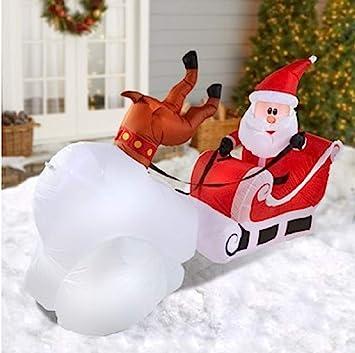 Amazon.com: Navidad Inflable Reno naufragio con Papá Noel ...