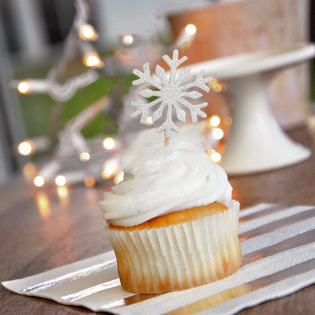 A SOFEELING 60pcs Copo de Nieve Cupcake Toppers Selecciones con Purpurina Fiesta de cumplea/ños de Navidad Fiesta tem/ática Envolturas Fiesta Fiesta de Navidad Pastel de Bodas Decoraci/ón Color Plata