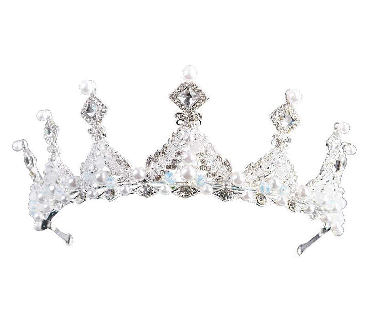 Crystal Crown, Simple Wedding Crown Hoop Headwear Evening Dress Accessories Wedding Crown First Ornament. (Color : Golden)