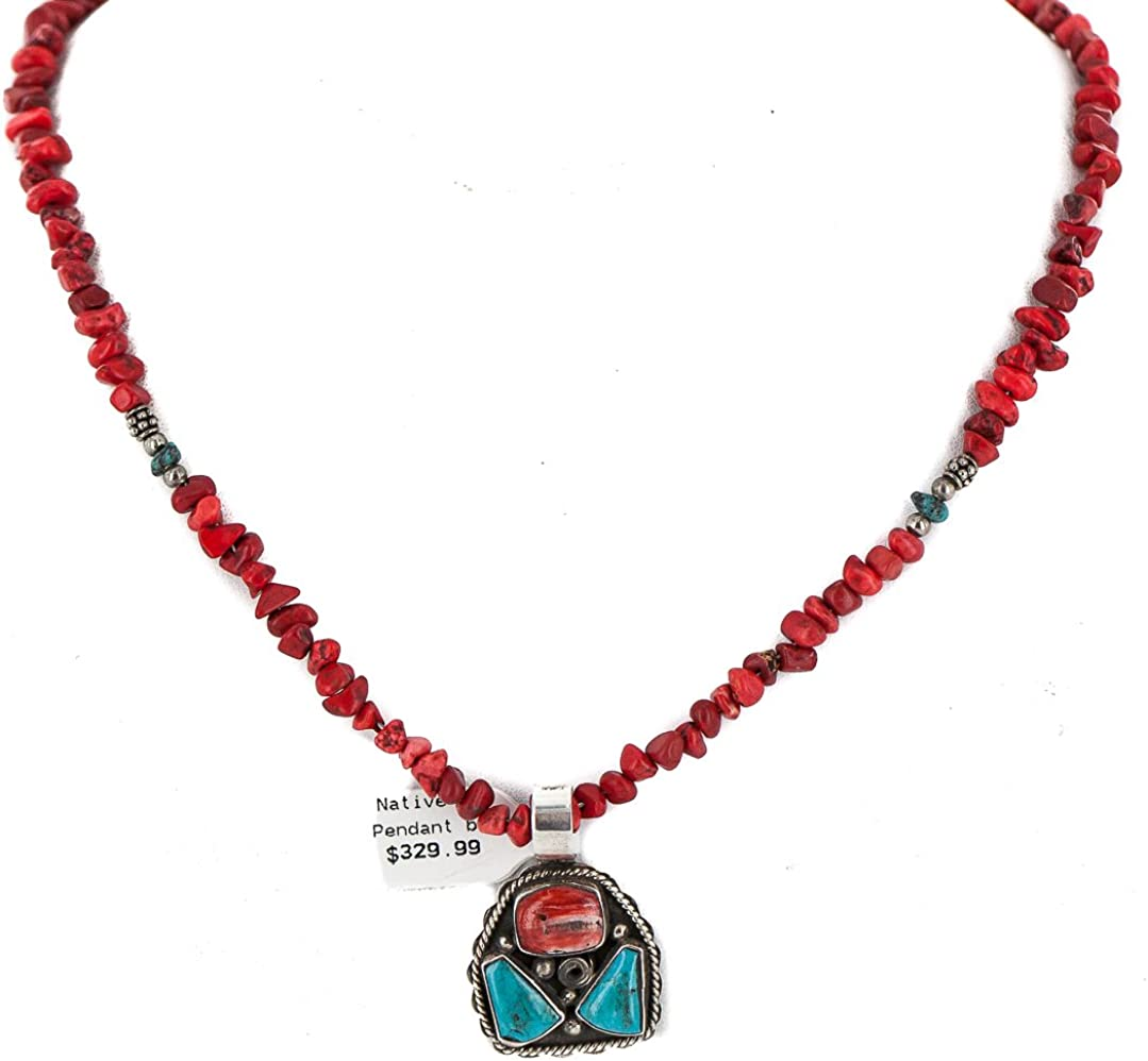 $580Tag Certified Silver Navajo Coral Spiny Turquoise Native Necklace 27230-18205-10 Made by Loma Siiva