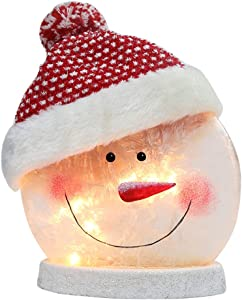 HutHomery Christmas Snowman Lights, Electric Lighted Glass Snowman Ball Night Light Lamp with Santa Claus Hat for Xmas Holiday Décor
