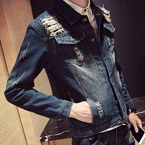 De Hombre Outwear Chaqueta Bolsillos Vaquero De con Slim Mezclilla Jacket Denim 02pd Abrigo rqrz5w6x