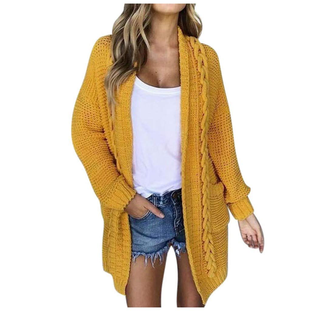 Baiggooswt Women Autumn Warm Casual Open Front Long Sleeve Solid Knitted Sweater Cardigan Long Coat with Pockets(Yellow,S) by Baiggooswt