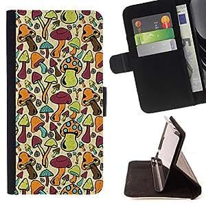 - Mushrooms Colorful Art Forest Wallpaper Food - - Prima caja de la PU billetera de cuero con ranuras para tarjetas, efectivo desmontable correa para l Funny HouseFOR Samsung Galaxy S6