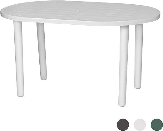 Resol - Mesa blanca de plástico ovalada para exteriores y jardín ...