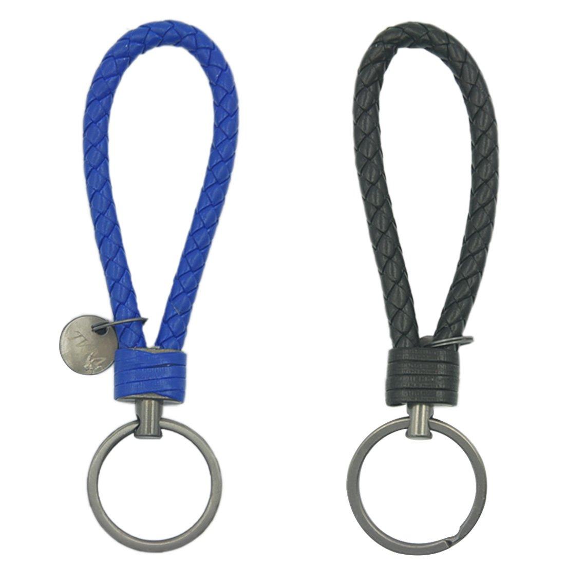 Office Oyachic 2 Pack Braided Car Key Chain Handmade Couple Key Ring Loop Home