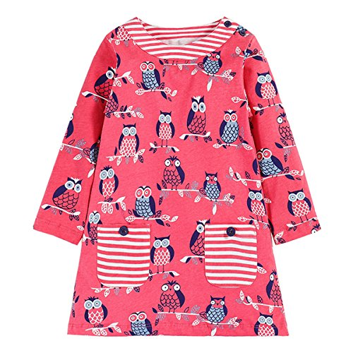 Kemosix Girls' Owl Print Dresses, Casual Cotton Stripe Long Sleeve Tops For (Candy Stripe Skirt)