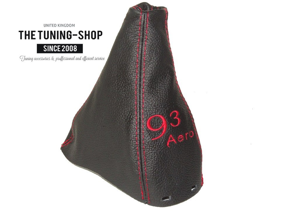 MANUAL GEAR GAITER SHIFT BOOT BLACK ITALIAN LEATHER WITH RED 93 AERO EMBROIDERY LOGO