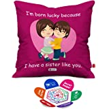 Indigifts Micro Sati and Fibre Lucky To Have You Sis Printed Micro Satin Cushion Cover with Fibre Filler (Magenta, 12x12-inch)