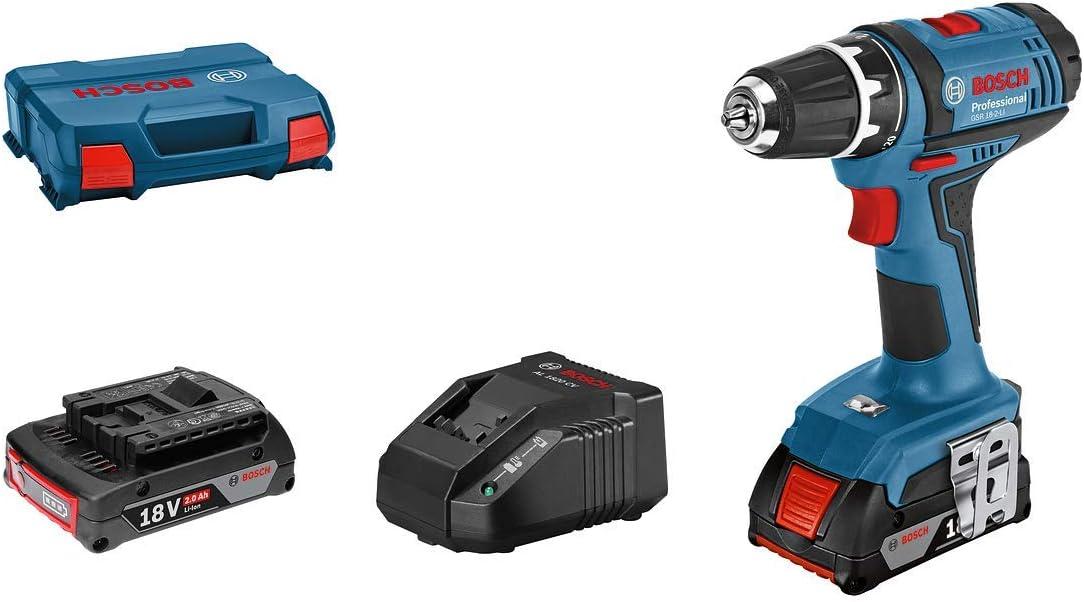 Bosch Professional 18V System GSR 18-2-LI - Atornillador a batería (63 Nm, Ø máx. tornillo 7 mm, 2 baterías x 2,0 Ah, en L-Case)