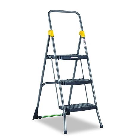 Fine Cosco 11839Ggo Commercial 3 Step Folding Stool 300Lb Cap 20 1 2W X 32 5 8D X 52 1 8H Gray Evergreenethics Interior Chair Design Evergreenethicsorg