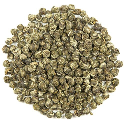 Jasmine Pearls Loose Leaf Chinese Tea - Hong Kong Tea Company Sourced Premium AAA Grade Ultra-Fine Green Tea - 1.5oz (China Grass Powder)
